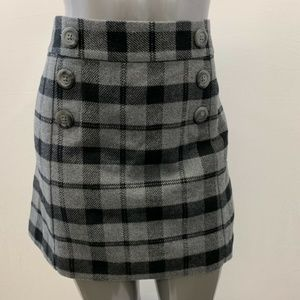 Gap Skirt Women's Size 14 Gray Black Plaid A-Line